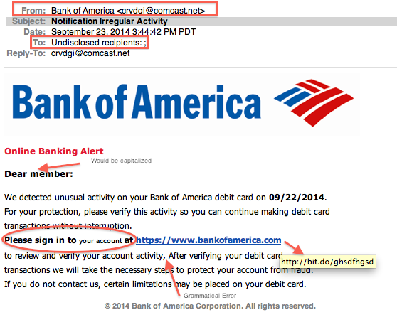 bank of america phishing